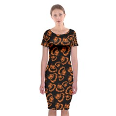 Pattern Halloween Jackolantern Classic Short Sleeve Midi Dress