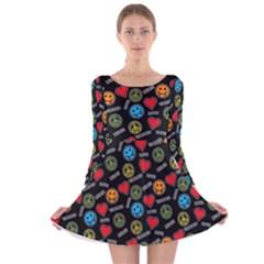 Pattern Halloween Peacelovevampires  Icreate Long Sleeve Velvet Skater Dress