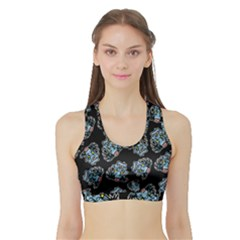 Pattern Halloween Zombies Brains Sports Bra With Border