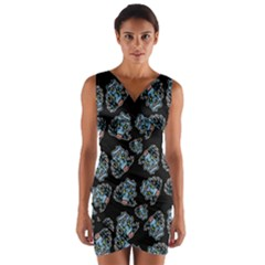 Pattern Halloween Zombies Brains Wrap Front Bodycon Dress