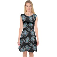 Pattern Halloween Zombies Brains Capsleeve Midi Dress