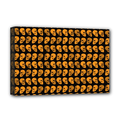 Halloween Color Skull Heads Deluxe Canvas 18  X 12