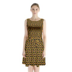Pattern Halloween Candy Corn   Sleeveless Waist Tie Chiffon Dress