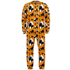 Pattern Halloween Black Cat Hissing Onepiece Jumpsuit (men)
