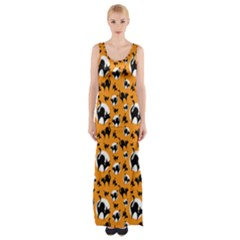 Pattern Halloween Black Cat Hissing Maxi Thigh Split Dress