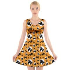 Pattern Halloween Black Cat Hissing V Neck Sleeveless Skater Dress