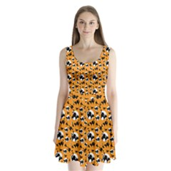 Pattern Halloween Black Cat Hissing Split Back Mini Dress