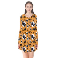 Pattern Halloween Black Cat Hissing Flare Dress