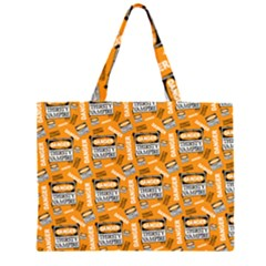 Halloween Thirsty Vampire Signs Zipper Large Tote Bag