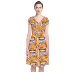Halloween Thirsty Vampire Signs Short Sleeve Front Wrap Dress