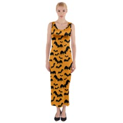 Pattern Halloween Bats  Icreate Fitted Maxi Dress