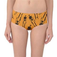 Halloween Skeletons  Mid Waist Bikini Bottoms