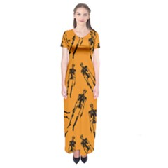 Halloween Skeletons  Short Sleeve Maxi Dress