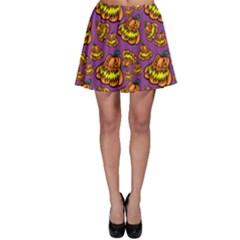 Halloween Colorful Jackolanterns  Skater Skirt
