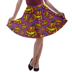 Halloween Colorful Jackolanterns  A Line Skater Skirt