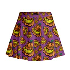 Halloween Colorful Jackolanterns  Mini Flare Skirt