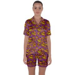 Halloween Colorful Jackolanterns  Satin Short Sleeve Pyjamas Set