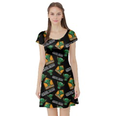 Halloween Ghoul Zone Icreate Short Sleeve Skater Dress