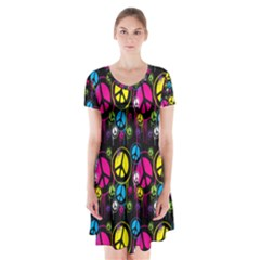 Peace Drips Icreate Short Sleeve V Neck Flare Dress