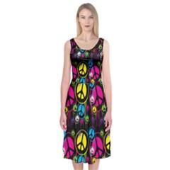 Peace Drips Icreate Midi Sleeveless Dress