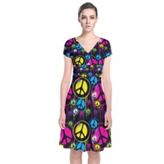 Peace Drips Icreate Short Sleeve Front Wrap Dress