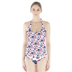 Peace Love America Icreate Halter Swimsuit