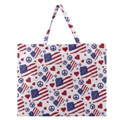 Peace Love America Icreate Zipper Large Tote Bag