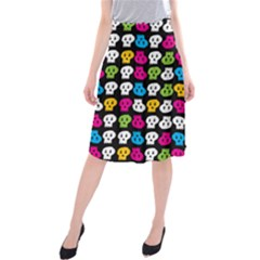 Pattern Painted Skulls Icreate Midi Beach Skirt