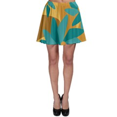 Urban Garden Abstract Flowers Blue Teal Carrot Orange Brown Skater Skirt