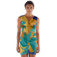 Urban Garden Abstract Flowers Blue Teal Carrot Orange Brown Wrap Front Bodycon Dress