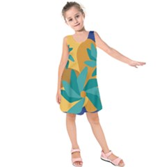 Urban Garden Abstract Flowers Blue Teal Carrot Orange Brown Kids  Sleeveless Dress