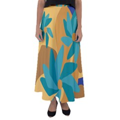 Urban Garden Abstract Flowers Blue Teal Carrot Orange Brown Flared Maxi Skirt