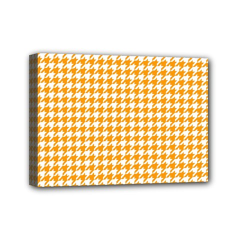 Friendly Houndstooth Pattern, Orange Mini Canvas 7  X 5