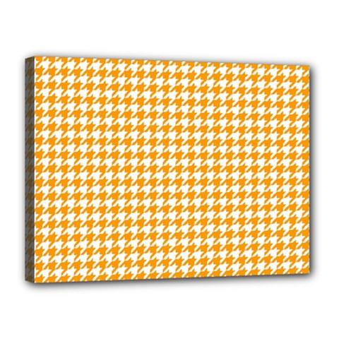 Friendly Houndstooth Pattern, Orange Canvas 16  X 12