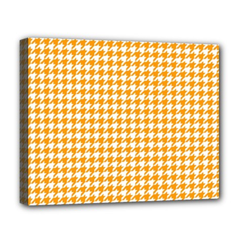 Friendly Houndstooth Pattern, Orange Deluxe Canvas 20  X 16
