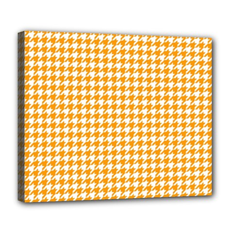 Friendly Houndstooth Pattern, Orange Deluxe Canvas 24  X 20