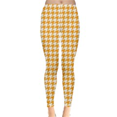Friendly Houndstooth Pattern, Orange Leggings