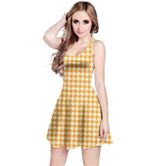 Friendly Houndstooth Pattern, Orange Reversible Sleeveless Dress