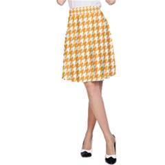 Friendly Houndstooth Pattern, Orange A Line Skirt