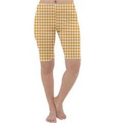 Friendly Houndstooth Pattern, Orange Cropped Leggings