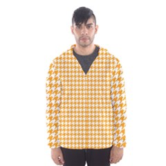 Friendly Houndstooth Pattern, Orange Hooded Wind Breaker (men)
