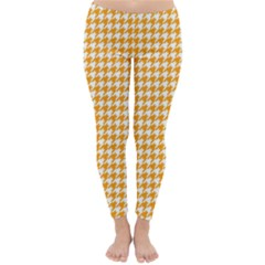 Friendly Houndstooth Pattern, Orange Classic Winter Leggings