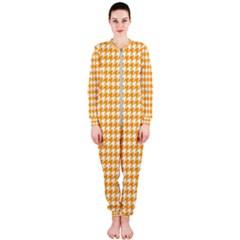 Friendly Houndstooth Pattern, Orange Onepiece Jumpsuit (ladies)