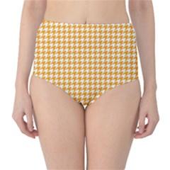 Friendly Houndstooth Pattern, Orange High Waist Bikini Bottoms
