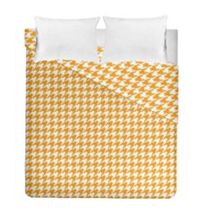 Friendly Houndstooth Pattern, Orange Duvet Cover Double Side (full/ Double Size)