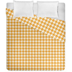 Friendly Houndstooth Pattern, Orange Duvet Cover Double Side (california King Size)