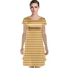 Friendly Houndstooth Pattern, Orange Cap Sleeve Nightdress