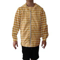 Friendly Houndstooth Pattern, Orange Hooded Wind Breaker (kids)