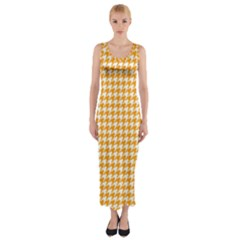 Friendly Houndstooth Pattern, Orange Fitted Maxi Dress