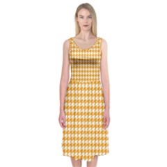 Friendly Houndstooth Pattern, Orange Midi Sleeveless Dress